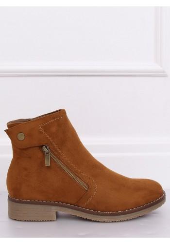 Semišové dámské boty hnědé barvy