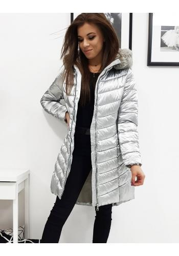Stříbrná prošívaná bunda na zimu pro dámy