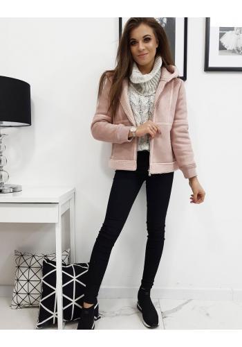 Zimní dámská bunda růžové barvy s kapucí