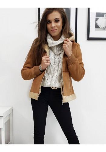 Dámská zimní bunda s kapucí v hnědé barvě