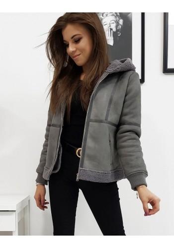 Tmavě šedá zimní bunda s kapucí pro dámy