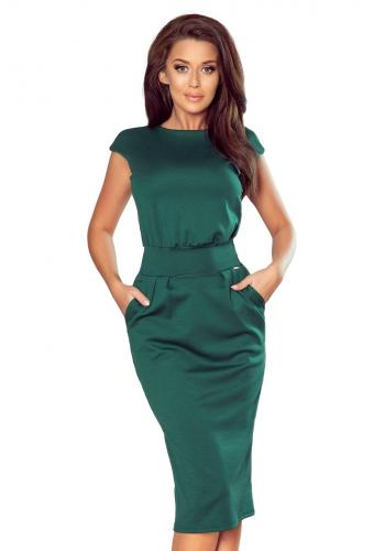 Úzké dámské šaty s vyšším pasem v zelené barvě