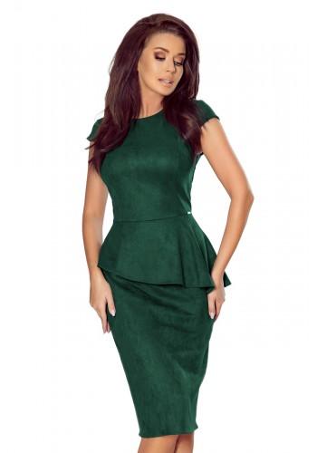 Dámské semišové šaty s asymetrickým volánem v zelené barvě