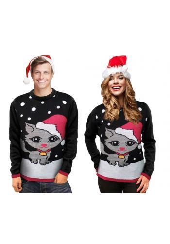 Vánoční dámský svetr černé barvy s motivem kočky