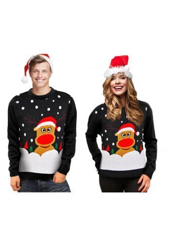 Dámský vánoční svetr s motivem soba v černé barvě