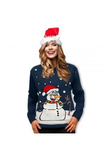 Tmavě modrý vánoční svetr s motivem sněhuláka pro dámy