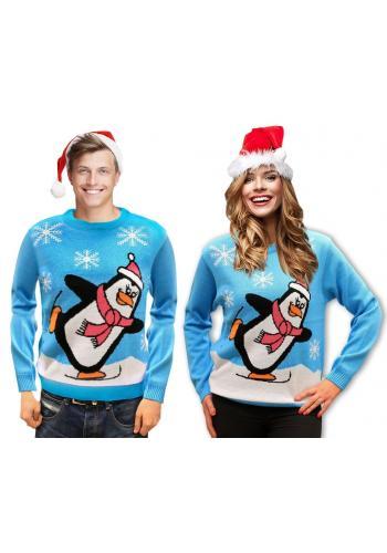 Vánoční dámský svetr světle modré barvy s motivem tučňáka