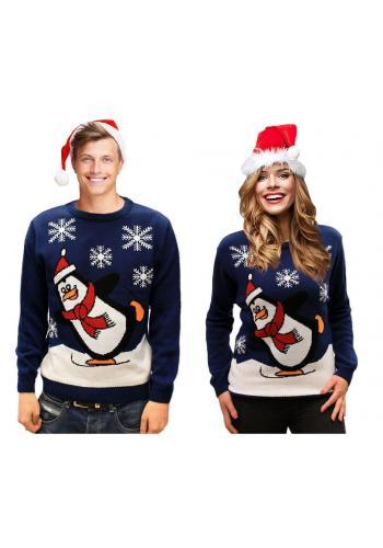 Dámský vánoční svetr s motivem tučňáka v tmavě modré barvě