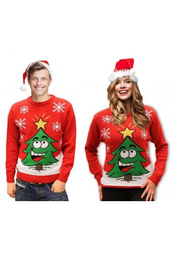 Červený vánoční svetr s motivem vánočního stromku pro dámy