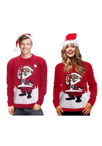 Vánoční dámský svetr červené barvy s motivem Santa Clause