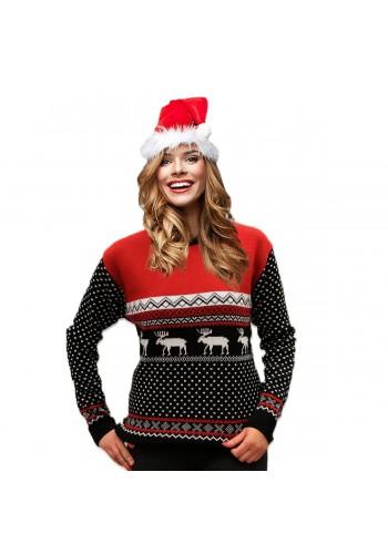 Černo-červený vánoční svetr se zimním motivem pro dámy