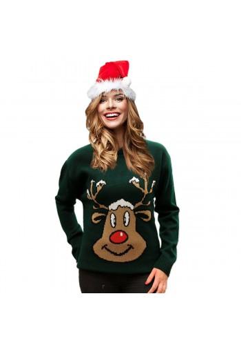 Vánoční dámský svetr zelené barvy s motivem soba