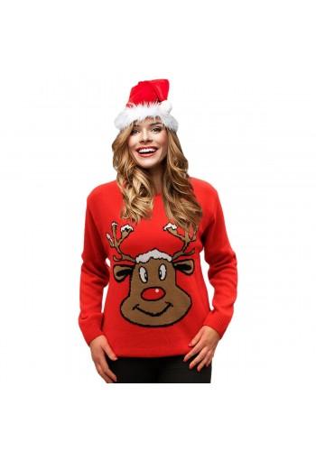 Dámský vánoční svetr s motivem soba v červené barvě