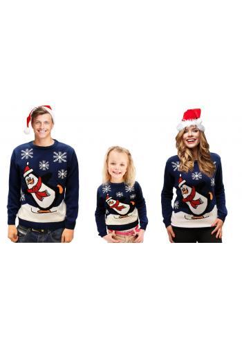 Dětský vánoční svetr s motivem tučňáka v tmavě modré barvě