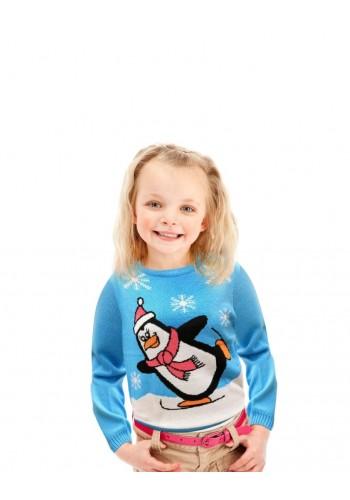 Vánoční dětský svetr světle modré barvy s motivem tučňáka