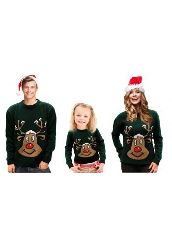 Zelený vánoční svetr s motivem soba pro děti