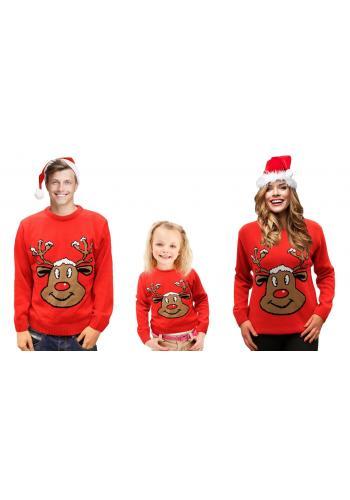 Dětský vánoční svetr s motivem soba v červené barvě