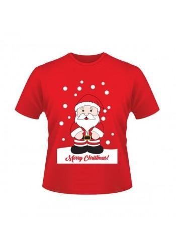 Červené vánoční tričko s motivem Santa Clause