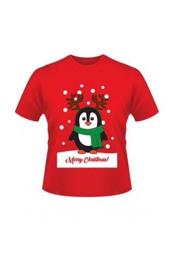 Vánoční tričko červené barvy s motivem tučňáka