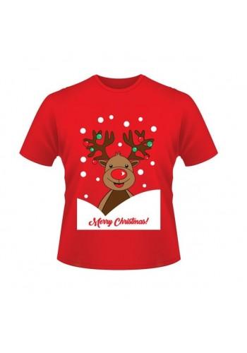 Červené vánoční tričko s motivem soba Rudolfa