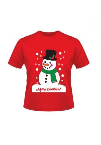 Vánoční tričko červené barvy s motivem sněhuláka