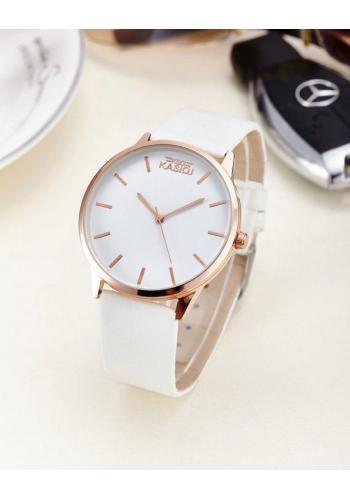 Bílé elegantní hodinky pro dámy na koženém řemínku