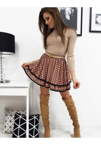 Dámská dvouvrstvá sukně s puntíky v hnědé barvě