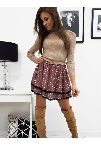 Růžová dvouvrstvá sukně s puntíky pro dámy