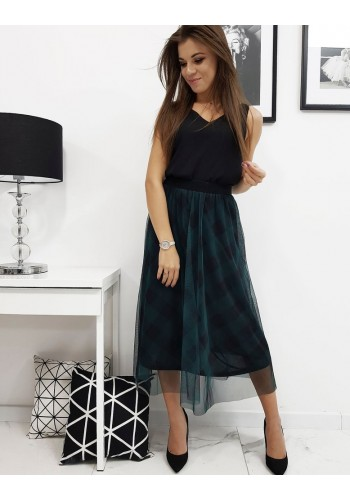 Dámská tylová sukně s kostkovaným vzorem v zelené barvě
