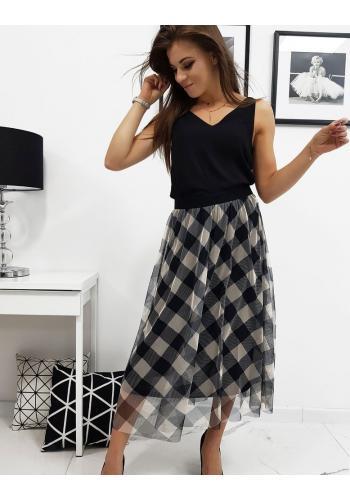Béžovo-černá tylová sukně s kostkovaným vzorem pro dámy
