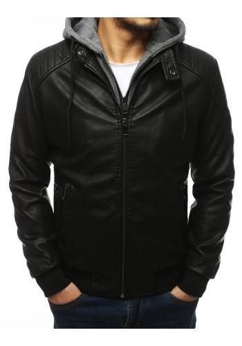 Pánská koženková bunda s teplákovou kapucí v černé barvě