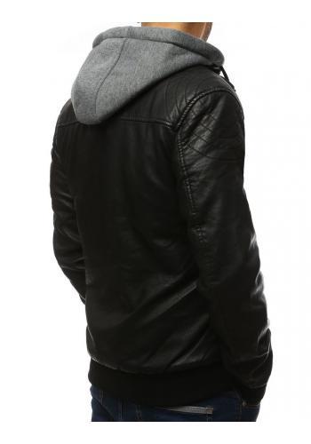 Černá koženková bunda s teplákovou kapucí pro pány