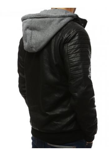 Koženková pánská bunda černé barvy s teplákovou kapucí
