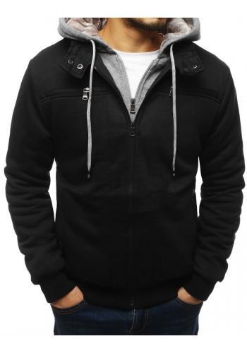 Přechodná pánská bunda černé barvy s kapucí