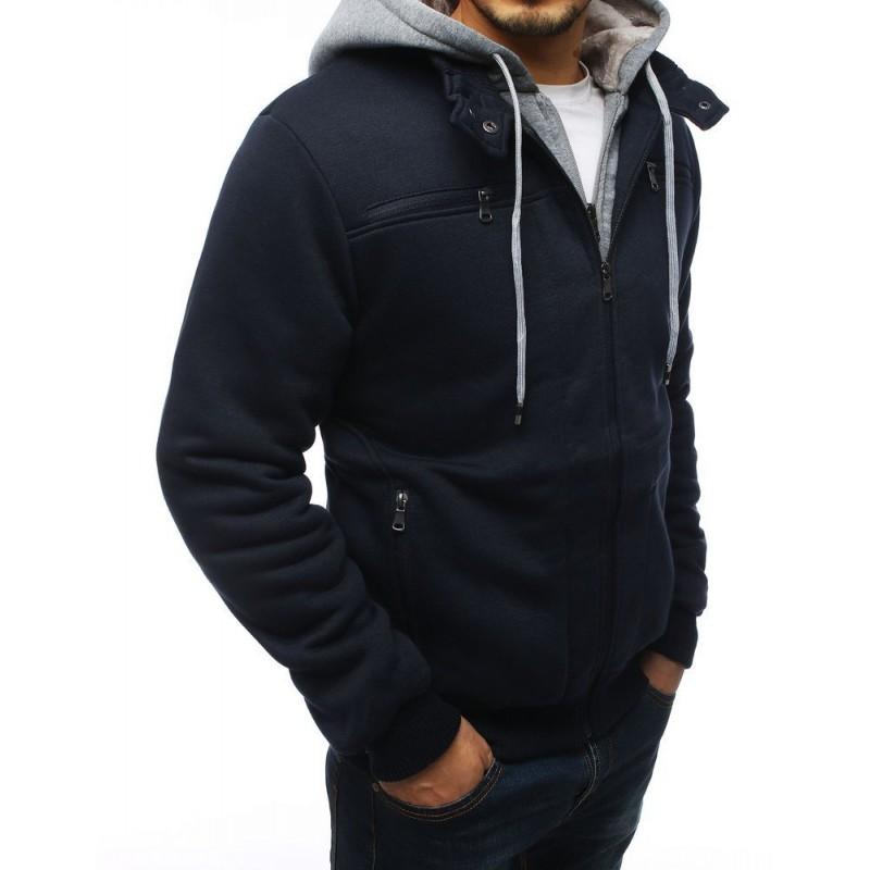 Pánská přechodná bunda s kapucí v tmavě modré barvě