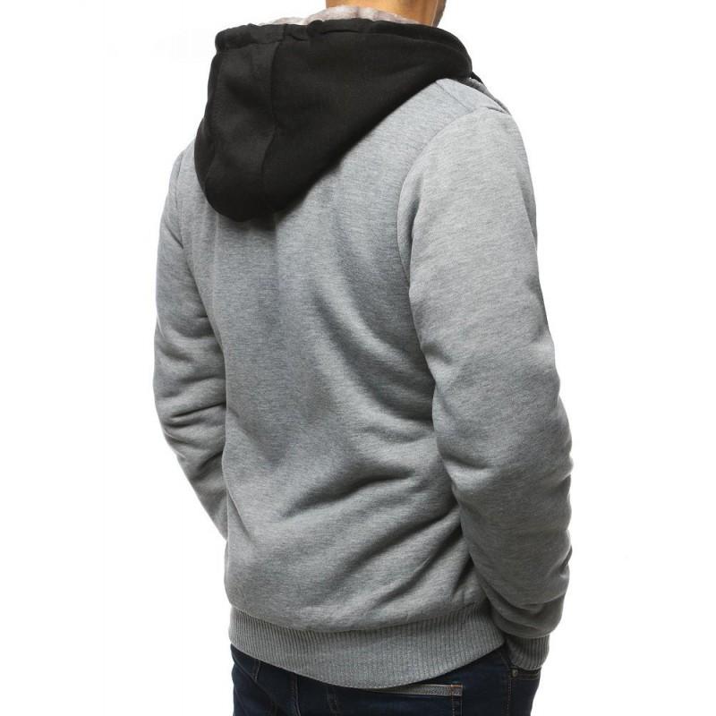 Šedá přechodná bunda s kapucí pro pány