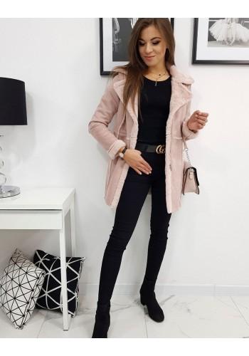 Dámský zimní kabát v růžové barvě