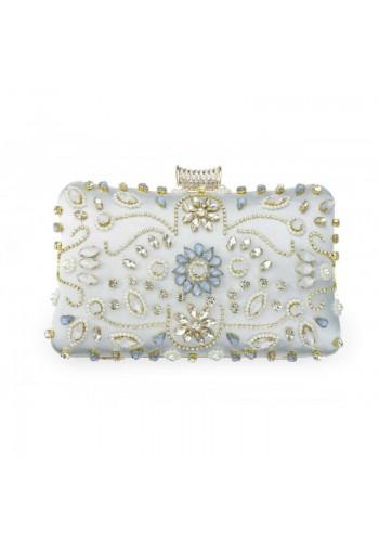 Společenská dámská kabelka světle modré barvy s krystaly