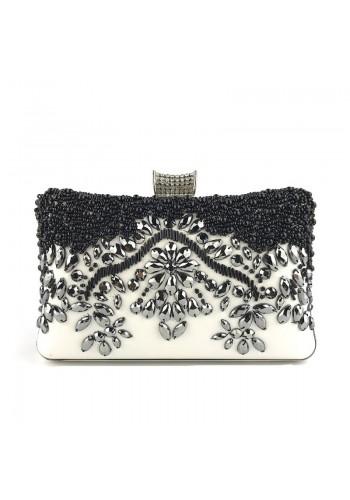 Černobílá večerní kabelka s krystaly pro dámy