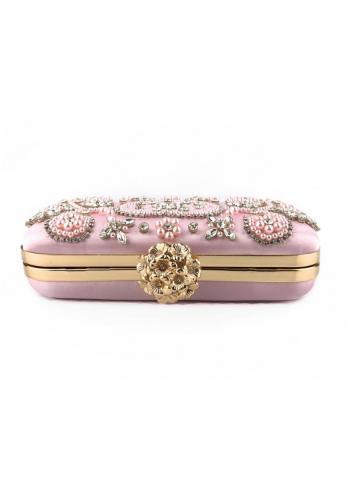 Společenská dámská kabelka růžové barvy s krystaly