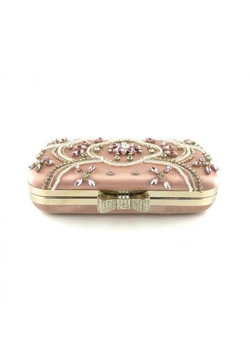 Dámská společenská kabelka s krystaly a perlami v růžové barvě