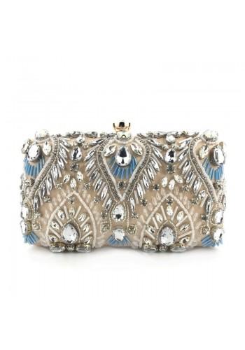 Béžová večerní kabelka s krystaly pro dámy