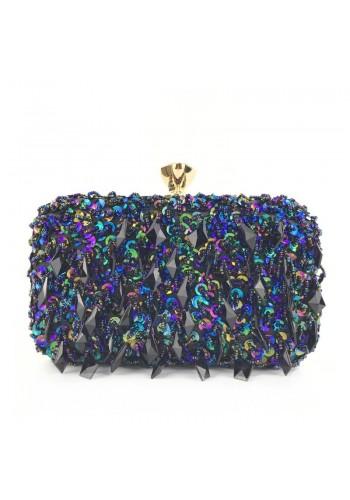 Modrá společenská kabelka s krystaly pro dámy