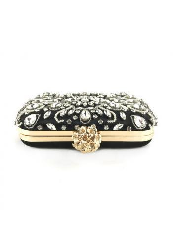Večerní dámská kabelka černé barvy s krystaly