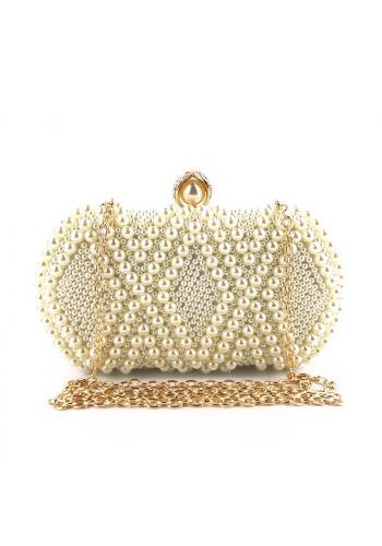 Dámská společenská kabelka s perlami v bílé barvě