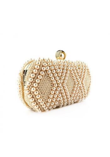 Růžová společenská kabelka s perlami pro dámy