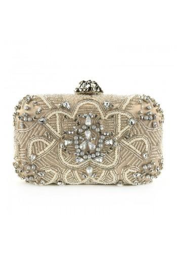 Večerní dámská kabelka béžové barvy s krystaly a perlami
