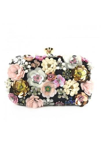 Dámská společenská kabelka s květinami v černé barvě