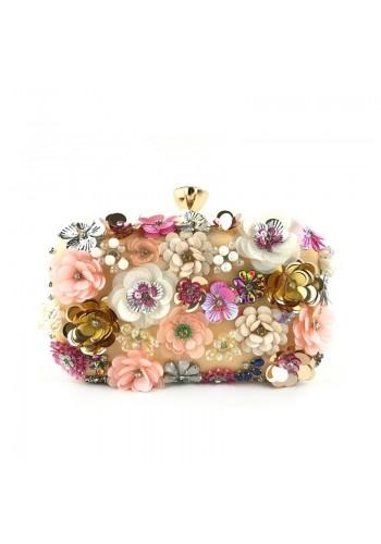 Bílá společenská kabelka s květinami pro dámy