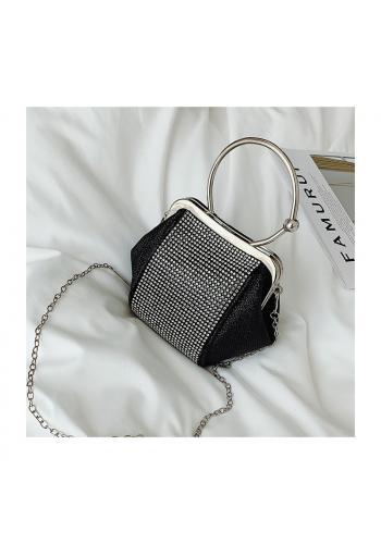 Dámská večerní kabelka s krystaly v černé barvě